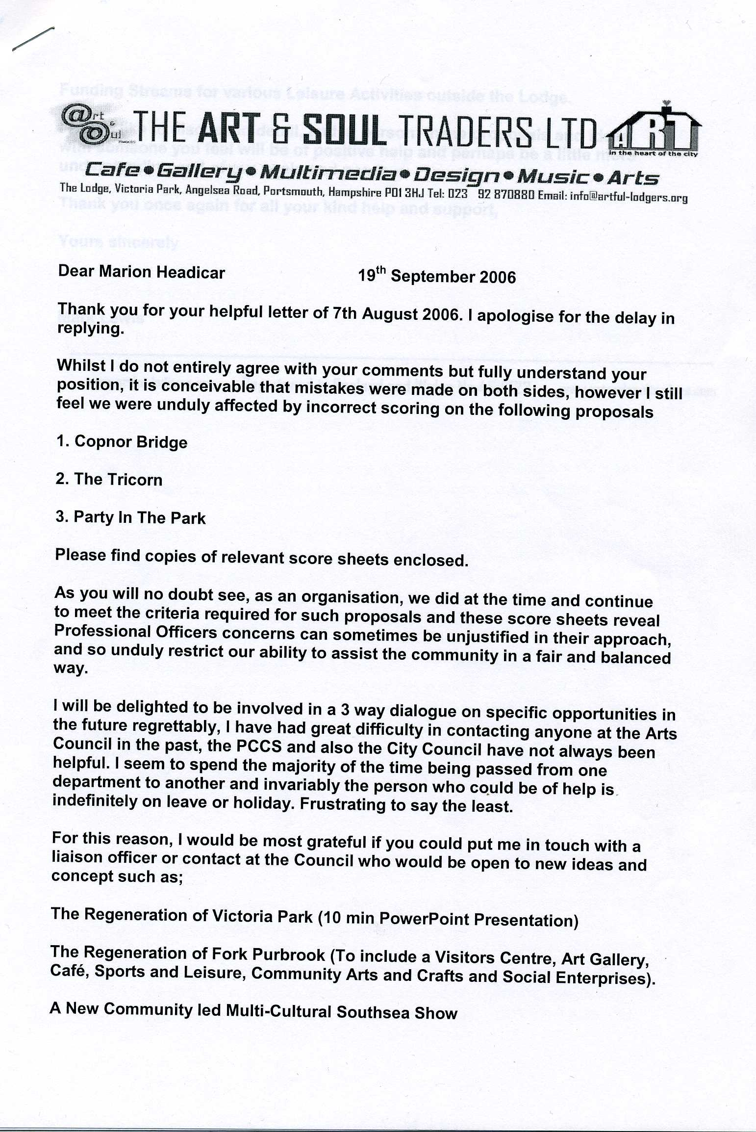 Our reply to Marion Headicar page 1